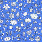 Spring doodles set. Hand draw flowers, sun, clouds, butterflies.  Royalty Free Stock Images