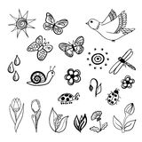 Spring doodles Royalty Free Stock Images