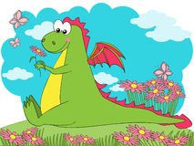 Spring Dragon. Cute dragon sitting on a flowered meadow Stock Images