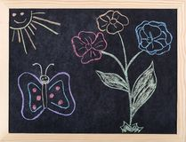Spring drawing. Spring colorful drawing on blackboard stock photos