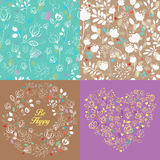 Spring drawing floral patterns set Stock Photography