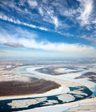Spring of drifting of ice on the great river Stock Photo