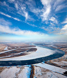 Spring of drifting of ice on the great river Royalty Free Stock Photography