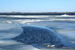 Spring. Drifting Ice on river Stock Image