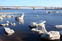 Spring. Drifting Ice on river . stock image