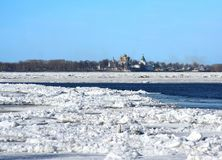 Spring. Drifting Ice on river Volga stock photos