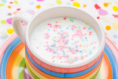 Spring drink vanilla milkshake sprinkles Stock Images