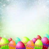 Spring or Easter background. With Colorful Easter eggs Stock Images