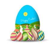Spring Easter background with egg and bunny. Stock Image