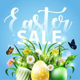 Spring Easter background with eggs and flower. Illustration of Spring Easter background with eggs and flower Stock Photos