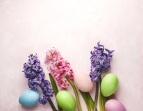 Spring Easter background with flowers and decoration eggs royalty free stock images