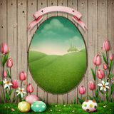 Spring, Easter, background. Spring Holiday Greeting Postcard or poster with fence frame Egg and Easter Eggs . Computer graphics vector illustration