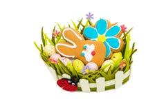 Spring Easter basket Stock Photo