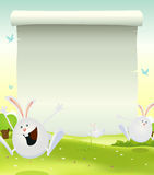 Spring Easter Bunnies Background Stock Photo