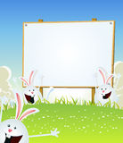 Spring Easter Bunnies Message On Wood Sign. Illustration of cartoon happy cute easter rabbits jumping in the grass inside spring landscape with wood Royalty Free Stock Image