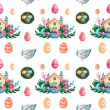 Spring Easter composition house basket branches flowers eggs on white isolated background Festive symbolic elements seamless. Spring Easter composition house vector illustration