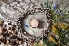 Spring easter composition with willow twigs wreath Stock Images