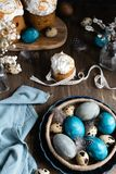 Spring easter concept, - naturally dyed easter eggs, quail eggs, feathers, easter cake, dark wooden background, copy space. Spring organic easter concept stock images