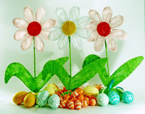 Spring and easter decoration. With flowers and eggs Royalty Free Stock Images