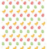 Spring easter egg and chicken seamless pattern isolated on white Royalty Free Stock Photo
