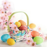 Spring Easter egs and flowers in a basket Royalty Free Stock Photography