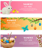 Spring and Easter Festive Vector Web Banners Set Stock Photos