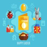 Spring Easter Flat Concept. Spring easter concept with cute rabbit colorful eggs ladybug and candles on blue background flat vector illustration Royalty Free Stock Images