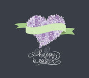 Spring and Easter with flower heart and ribbon banner in purple Stock Image