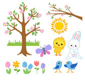 Spring Easter Garden.Cheerful friends greet spring. Royalty Free Stock Photography
