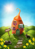 Spring easter meadow. With egg house vector illustration