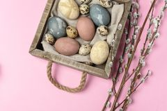 Spring easter minimal background rustic style composition - organic naturally dyed easter eggs stock photography