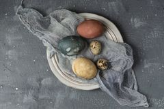 Spring easter minimal background rustic style composition - organic naturally dyed easter eggs stock images
