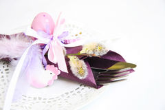 Spring, Easter place setting. Lilac Easter place setting background, eggs, willow Stock Photos
