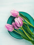 Spring easter purple tulip floral green pastel color background Stock Images