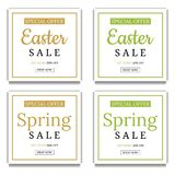 Spring and Easter Sale Banner Template Background. Square Frame. Voucher, flyers, invitation, posters, brochure, coupon. Vector. royalty free illustration