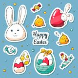 Spring Easter stickers set in cartoon style. Vector Illustration in doodle style. Collection of happy easter symbols royalty free illustration
