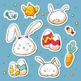 Spring Easter stickers set in doodle style. Vector hand drawn Illustration with cartoon characters. Collection of happy vector illustration