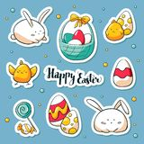 Spring Easter stickers set in doole style. Vector habd drawn Illustration. Collection of happy easter symbols: rabbit royalty free illustration
