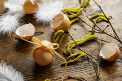 Spring easter still life with eggs Stock Images