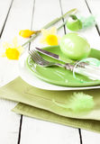 Spring or easter table setting with decorations Royalty Free Stock Images