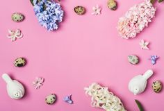 Spring Easter Table setting. Pink saturation flat lay.  Royalty Free Stock Photo