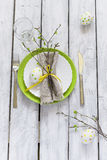Spring Easter Table setting at wooden table. Top view. Royalty Free Stock Photos