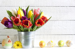 Spring easter tulips in bucket with eggs Royalty Free Stock Photos