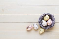 Spring easter tulips in bucket on white vintage background. Royalty Free Stock Images