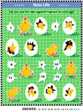 Spring or Easter visual logic puzzle with newborn chicks, eggs and eggshell fragments Stock Photography