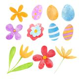 Spring easter watercolor set with eggs and flowers vector illustration