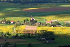 Spring in eastern Bohemia. Spring lanscape in eastern Bohemia,  village Viznov near town Broumov Royalty Free Stock Images