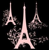 Spring eiffel tower design set Royalty Free Stock Images