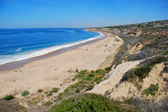 Spring at El Morro Beach and Crystal Cove State Park. This spring time image shows El Morro (Moro) Beach with Crystal Cove State Park in the upper center area royalty free stock image