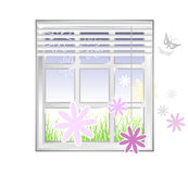 Spring element - window with flowers Stock Photography